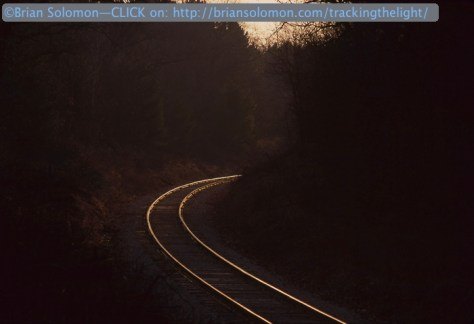 Lonely tracks at Eagle, Wisconsin c1996. I waited, but the train didn't show up.
