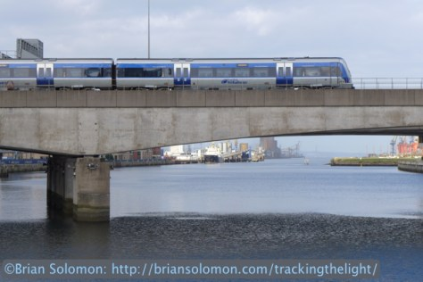 An NIR train crosses the River Lagan in Belfast. Lumix LX7 photo.
