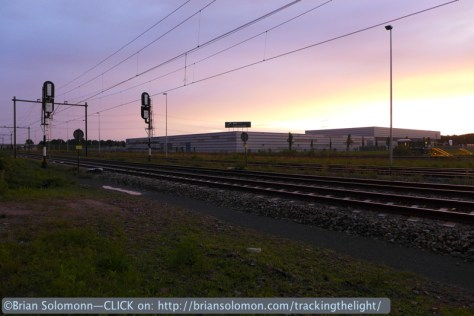 NS line at  sunset_Berkel Enschot, Netherlands. August 2014.