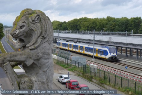 Den Bosch station with a decorative lion. Exposed from an escalator using my Lumix LX7.