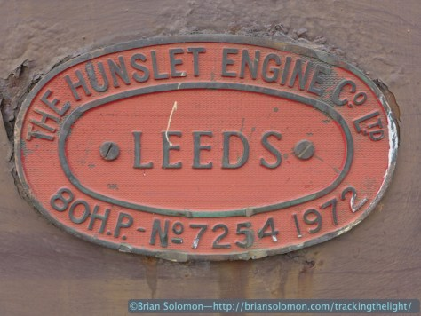 Hunslet builders plate on a old Bord na Mona locomotive. Lumix LX7 photo.
