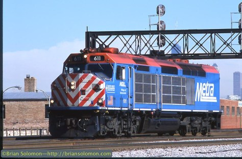 Metra 611 at A2 Tower Chicago in February 2003. Exposed on Fujichrome with a Nikon F3.