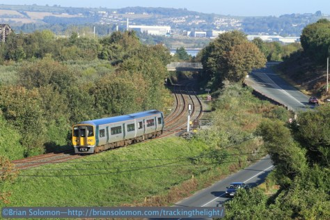 Irish Rail 2612 approaches its station stop at Carrigaloe, County Cork. Exposed with Canon EOS 7D.