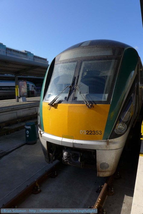 Close up view of Irish Rail's ICR on platform 7 on October 6, 2014. Lumix LX7 photo.