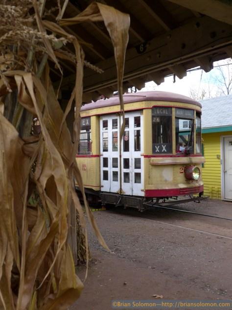 Cornstalks and a Montreal streetcar. Lumix LX7 photo.