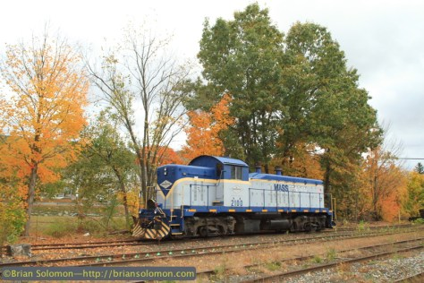 Mass-Central 210 rests at Ware yard on former Boston & Albany trackage on October 15, 2014. Exposed with a Canon EOS 7D with 20mm lens.