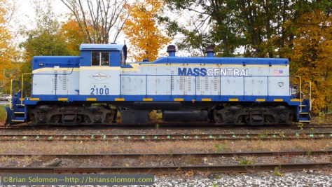Mass-Central NW5 2100 is one of 13 such locomotives built by General Motors Electro-Motive Division between 1946 and 1947. It was originally bought by Southern Railway, but has worked Mass-Central's Ware River Branch since the early 1980s. Exposed with a Lumix LX7 using the 'Vivid' color profile. Compare with the high dynamic range (HDR image below.