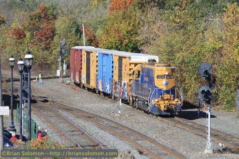 New England Central 603 was switching its consist in Palmer.