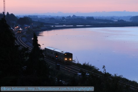 In yesterday's post, I focused on a series of sunrise images exposed overlooking Cobh Junction. For this view, made minutes before sunrise, I used my Canon EOS 7D with 100mm telephoto. By raising the ISO and using the lens nearly wideopen (f2.0) I was able to stop the action despite relatively low light. For the sunrise, I used by Fujichrome slide film and digital photography.
