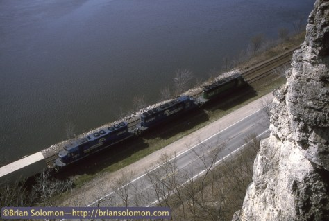 On April 2, 1995, I spent the afternoon with Tom and Mike Danneman perched atop a bluff photographing trains along the Mississippi River. With three SD40-2s, you just know that this westbound was making a great sound along the river! Exposed on Kodachrome 25 with a Nikon F3T.