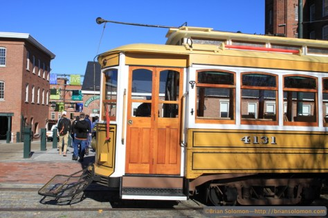 Lowell's historic trolley gives visitors a feeling for what it was like to ride a streetcar. Canon EOS 7D with 20mm lens.