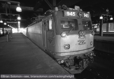 Amtrak AEM-7 945 at South Station, Boston. Exposed on Fuji Acros 100 black & white film using a Leica M3 with 21mm Super Angulon. Processed in Kodak HC100.