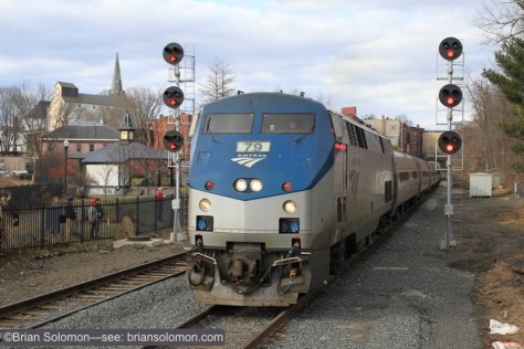 Amtrak number 55 approaches Greenfield. Canon EOS 7D.