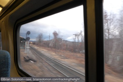 The view of the Palmer Diamond looking south from Amtrak train 56 as it arrives in Palmer on December 17, 2014.