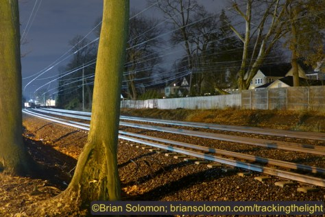 Former Pennsylvania Railroad four-track Main Line west of Wynnewood, Pennsylvania. Lumix LX7 photo exposed at ISO 80 at f2.0 for 8 seconds. Auto white balance.
