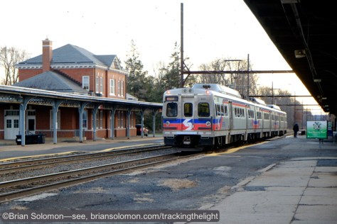 A SEPTA Silverliner V has paused for its inbound station stop at West Trenton. Here back lighting didn't pose a focus issue when using the 18-55mm lens with the X-E2.