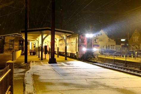 Where the Fuji camera come into their own is with the high ISO settings. SEPTA local to Philadelphia at Glenside, Pennsylvania. Fuji X-E2 with 27mm pancake lens. ISO 2000 at f2.8 1/12th second handheld.