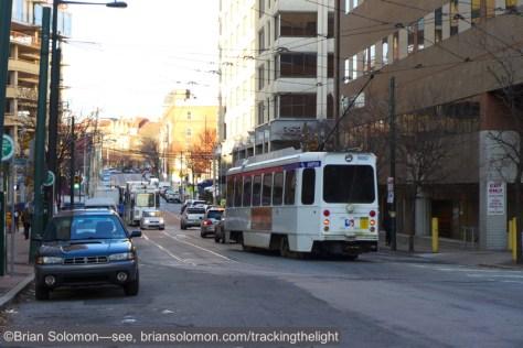 On the evening of December 15, 2014, a SEPTA streetcar navigates 36th Street. Lumix LX7 photo.