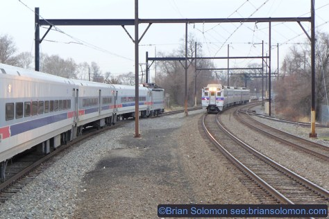 SEPTA trains at Fern Rock. Lumix LX7 photo.