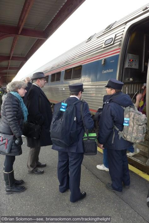 Amtrak 55 on the platform at Springfield, Massachusetts. Lumix LX7 photo.