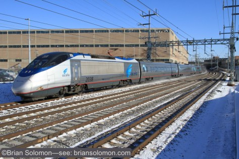 Amtrak's Acela Express train 2251 at West Haven. It was cold but clear. Exposed using a Canon EOS 7D with 20mm lens. Part of a burst of exposures made with the camera's motordrive.