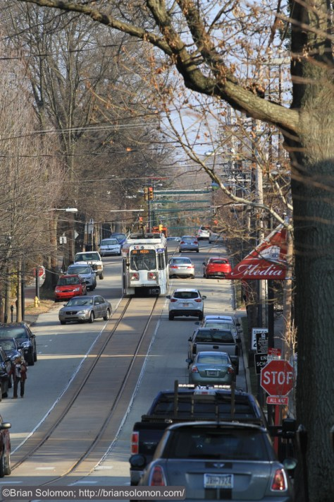 SEPTA's Route 101 Trolley en route to 69th Street.