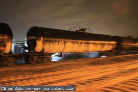 CSX crude oil train K138 glides through Neshaminy Falls, Pennsylvania. Canon EOS 7D with 20mm lens. ISO 4000 f2.8 1/10th of second.