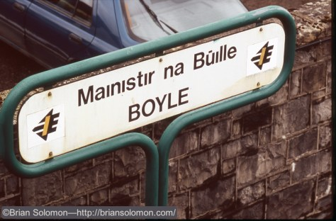 Station sign at Boyle on Irish Rail's Sligo Line.