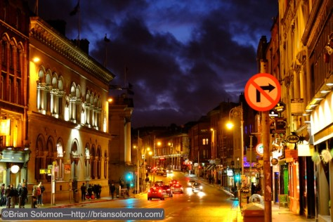 The evening glow looking west on Dame Street. Hundreds of years ago there was a gate to the old city down there.