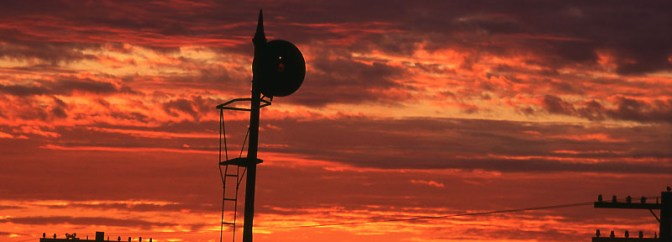 Searchlight Sunset—Chana, Illinois.
