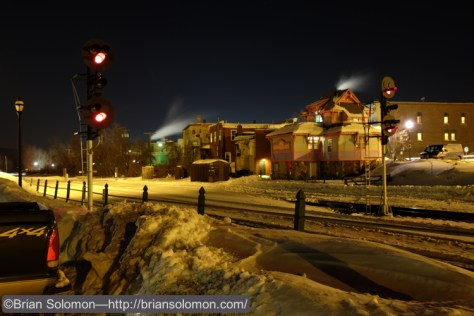 Daylight photos are all very nice, but I'm fond of making photos at night. Unfortunately, this time of year this seems to result in me fuddling with camera controls using numb fingers. CSX signals at Palmer, Massachusetts on the evening of February 6, 2015. 30 second time exposure using a Bogen tripod.
