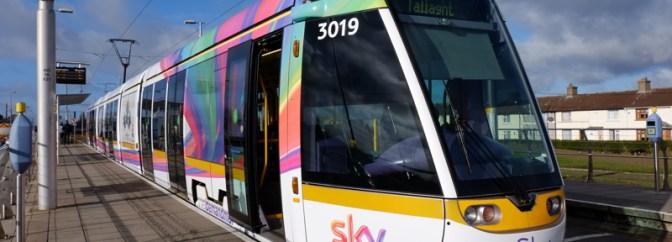 Sky Tram Roams Dublin's LUAS Red Line.