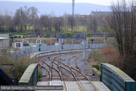 Test photo looking toward Platform 10 at Heuston Station, view from Conynham Road.