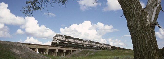 Classic Kodachrome: Burlington Northern SD70MACs near Edgemont, South Dakota