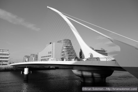 Samuel Beckett Bridge—exposed with a Fuji X-T1 in black & white mode with digital red filtration.
