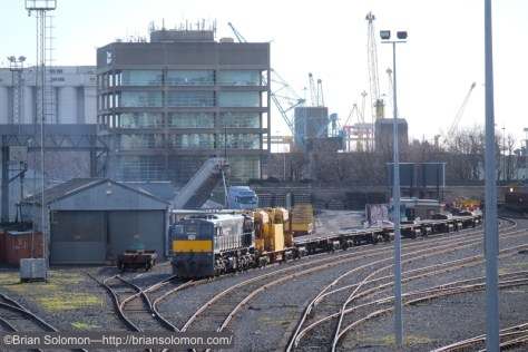 Tuesday, March 3, 2015: Irish Rail 084 with the Relay train at Dublin's North Wall. The engine has just been started. Any bets when it might depart? Exposed with Fuji X-T1.