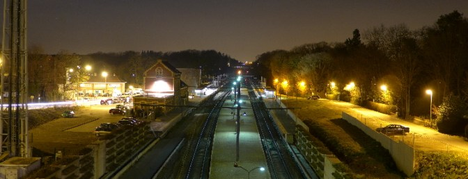 La Hulpe Station at Night, March 2015.