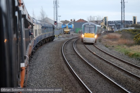 In the loop at Skerries as a down road ICR passes.