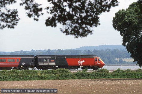 Classic: Virgin HST at speed.  Exposed with a Contax G2 with 45mm Zeiss lens on Fujichrome Film. 1/1000th of a second.