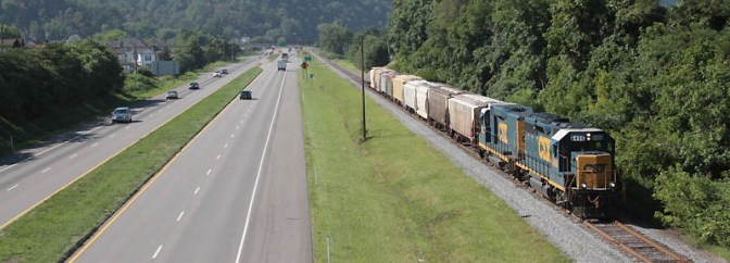 Highway and Railway at CSX Benwood, West Virginia.