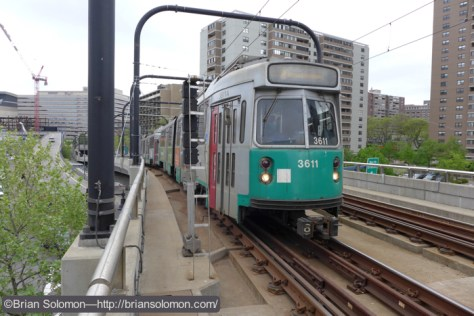 Roughly the same angle of an outbound Green Line train exposed with my Lumix LX7.