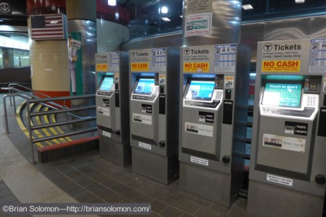 MBTA ticket machines at Harvard Square. The glint off the metallic surfaces and screens can result in underexposure. Red Line station at Park Street in Boston. Exposed using a Lumix LX7 digital camera.