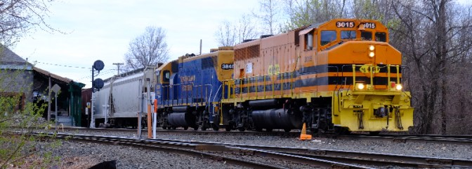 New England Central's safety cab GP40-2Ls; four photos from May 1, 2015