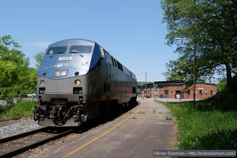 Amtrak 57 makes its station stop at Bellows Falls. Exposed with a Fujifilm X-T1 digital camera.