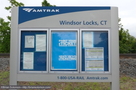Amtrak sign at Windsor Locks. Just a short platform with a shelter.