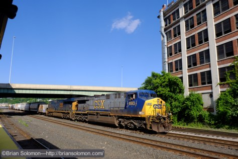 CSX Q423 assembles its train at the west end of Worcester Yard. The passenger platform at Worcester Union Station offers a decent view of the CSX yard, however most of the year this is lit from the south, which make photography challenging. Exposed with a Fujifilm X-T1 Digital Camera.