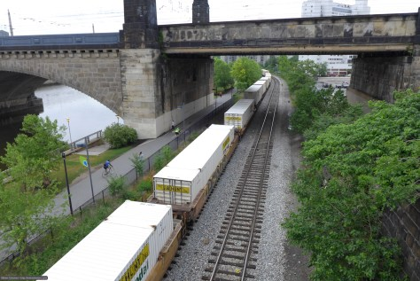 CSX intermodal train glides along the Schuylkill River on the old Baltimore & Ohio. No Royal Blue today. Lumix LX7 photo.