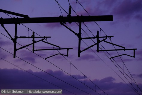 Overhead catenary at Mansfield. Exposed with a Fujifilm X-T1 digital camera.