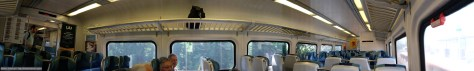 Interior panoramic composite of a Long Island Rail Road car. Exposed with a Fuji X-T1.