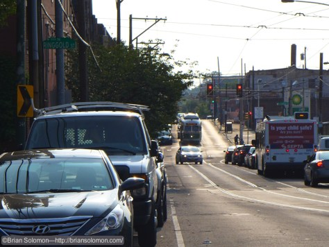 Looking west on Girard Avenue in the smoky afternoon light. Exposed with a Lumix LX7.